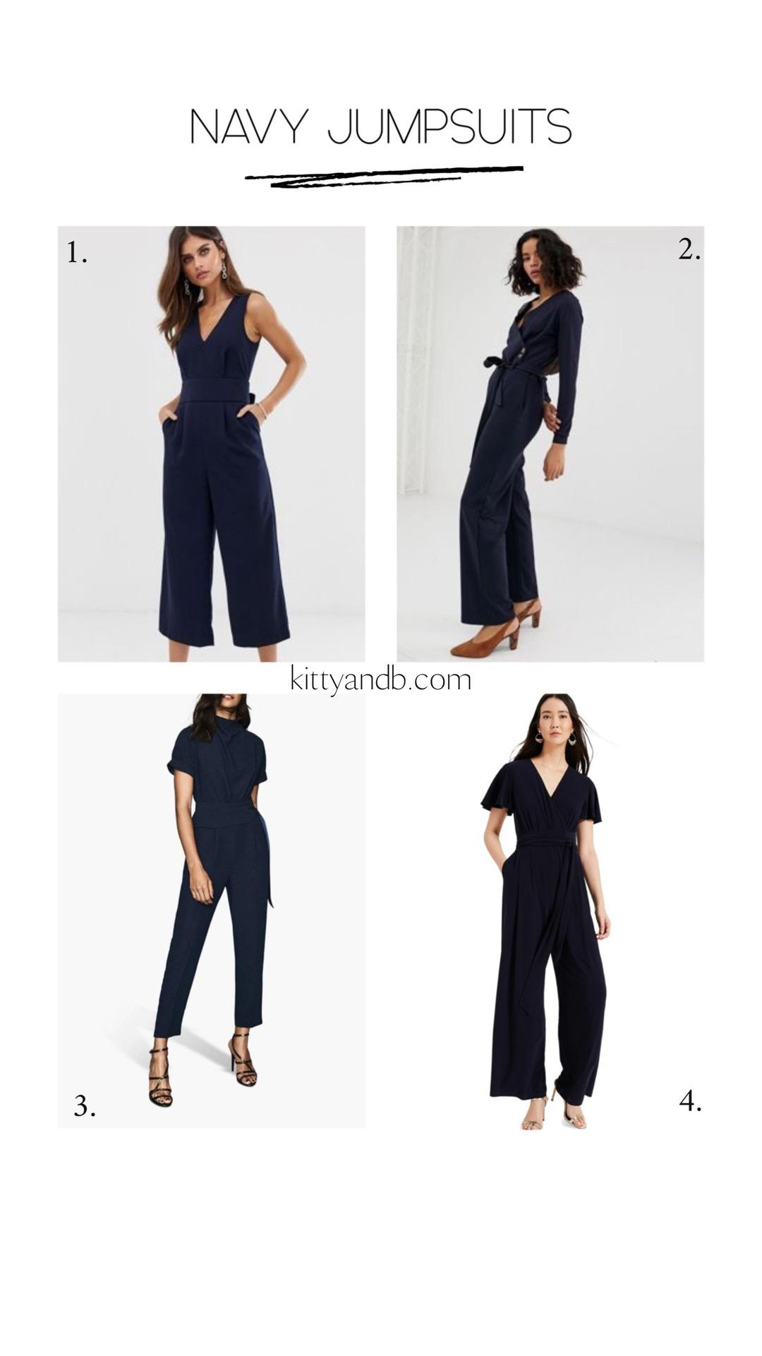 Navy Jumpsuits for all! Navy jumpsuits are classic and stylish and so here are 4 options and the shoes to wear with a jumpsuit | kittyandb.com #jumpsuits #navy #howtowear #outfitideas