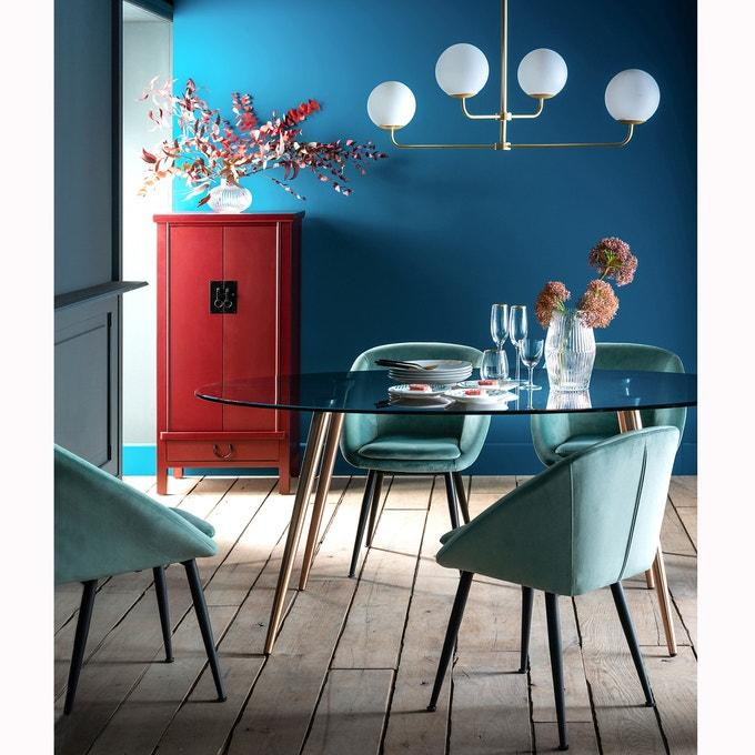 Tonal Blue Dining Room with Red Storage Decor Inspiration| Blue is a really versatile colour to decorate your home with. But, which colours and tones work well? What kind of accessories work with blue? This post gives you ideas for pulling together an elegant blue colour palette and pieces for your home. Read more: kittyandb.com #blueroom #diningroom #red #colourfulhomedecor #bluecolorpalette #blueaesthetic