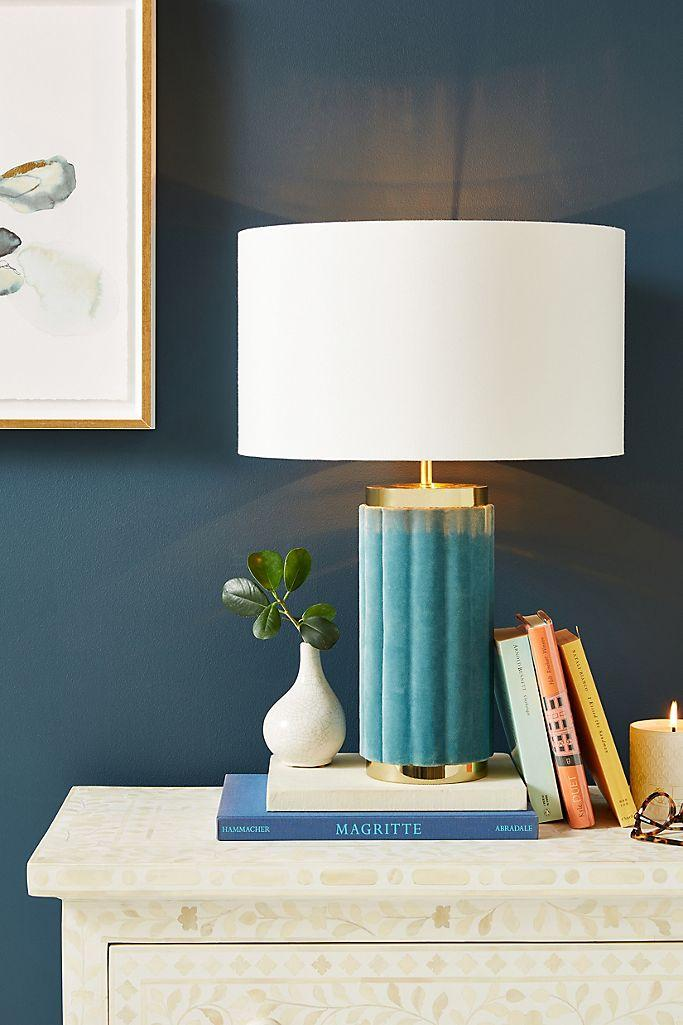 Blue Walls and Blue and White Lamp Room Decor Inspiration| Blue is a really versatile colour to decorate your home with. But, which colours and tones work well? What kind of accessories work with blue? This post gives you ideas for pulling together an elegant blue colour palette and pieces for your home. Read more: kittyandb.com #blueroom #livingroom #light #BlueAndWhite #colourfulhomedecor #bluecolorpalette #blueaesthetic