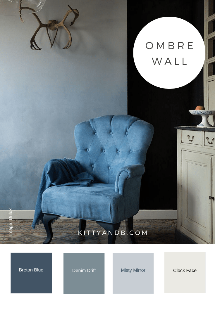 Blue Ombre Wall Room Decor Inspiration| Blue is a really versatile colour to decorate your home with. But, which colours and tones work well? What kind of accessories work with blue? This post gives you the shades you need to recreate this ombre wall, plus ideas for pulling together an elegant blue colour palette and pieces for your home. Read more: kittyandb.com #bluelivingroom #ombrewall #colourfulhomedecor #bluecolorpalette #interiordecoratinginspiration #blueaesthetic