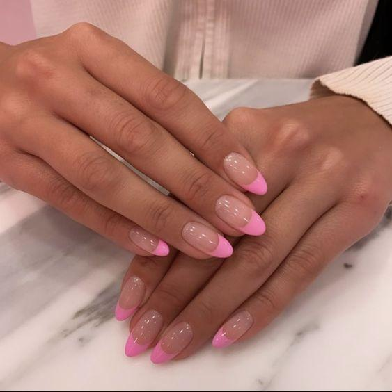 Pink French Manicure Tips | We love a classic French manicure, it's elegant and timeless. But, we also love classic with a twist. Here are all the alternative French manicure styles you need | www.kittyandb.com #PinkAesthetic #PinkNails #NailArt #French #Tip