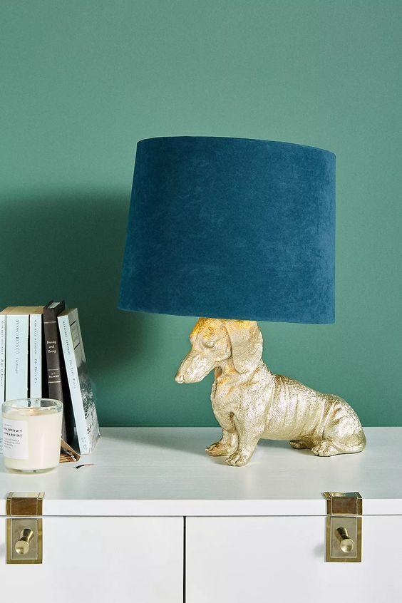 Blue Dachshund Lamp Room Decor Inspiration| Blue is a really versatile colour to decorate your home with. But, which colours and tones work well? What kind of accessories work with blue? This post gives you ideas for pulling together an elegant blue colour palette and pieces for your home. Read more: kittyandb.com #blueroom #colourfulhomedecor #Lighting #bluecolorpalette #blueaesthetic #Dachshund