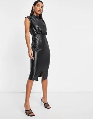 Faux Leather Pencil Dress