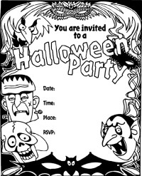 free printable black and white halloween party invitations