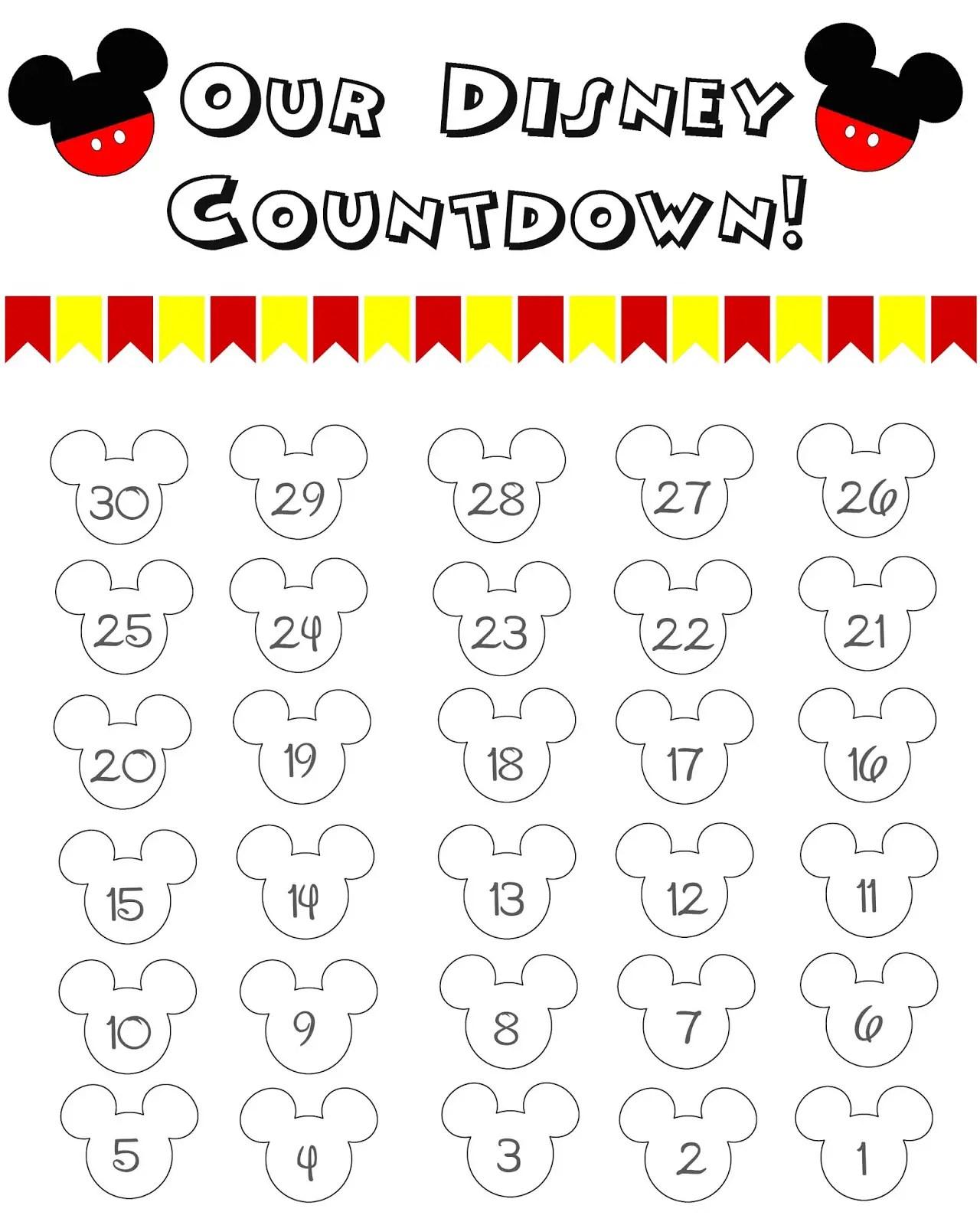 10 Fun Printable Disney Countdown Calendars
