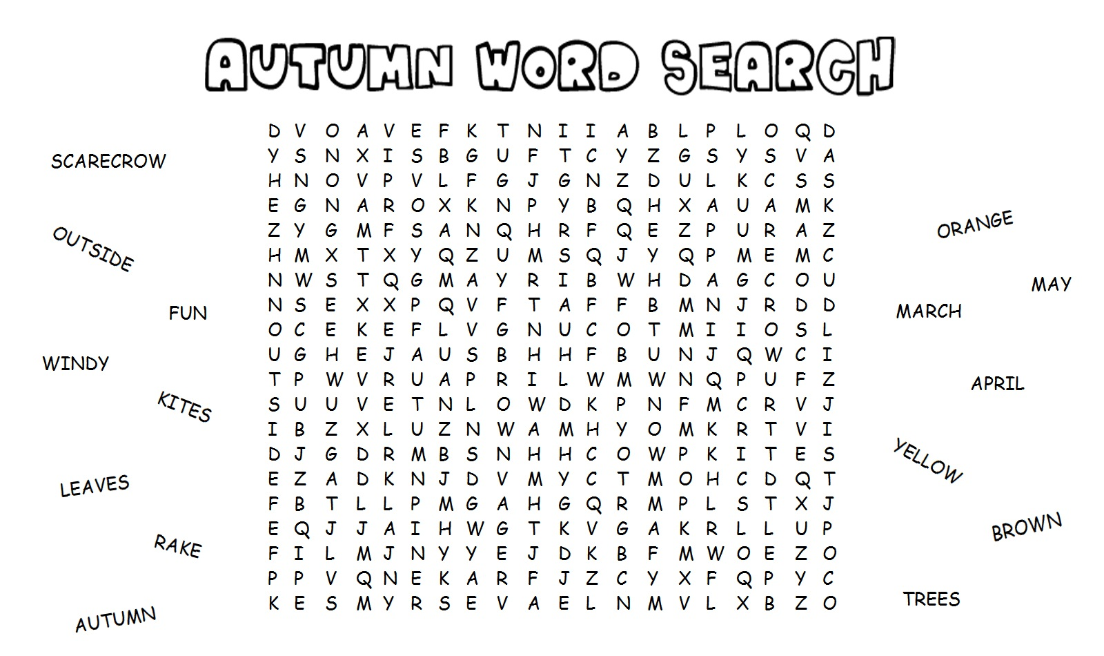 18 Fun Fall Word Search Puzzles