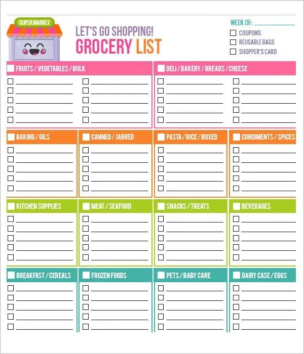 Food List Excel Template