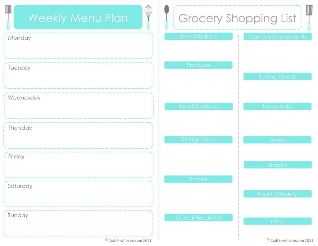 28 Free Printable Grocery List Templates