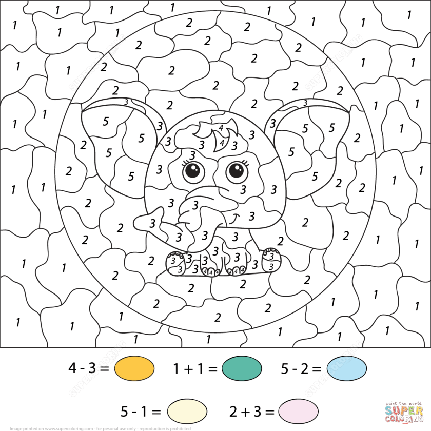 34 colornumber addition worksheets  kittybabylove