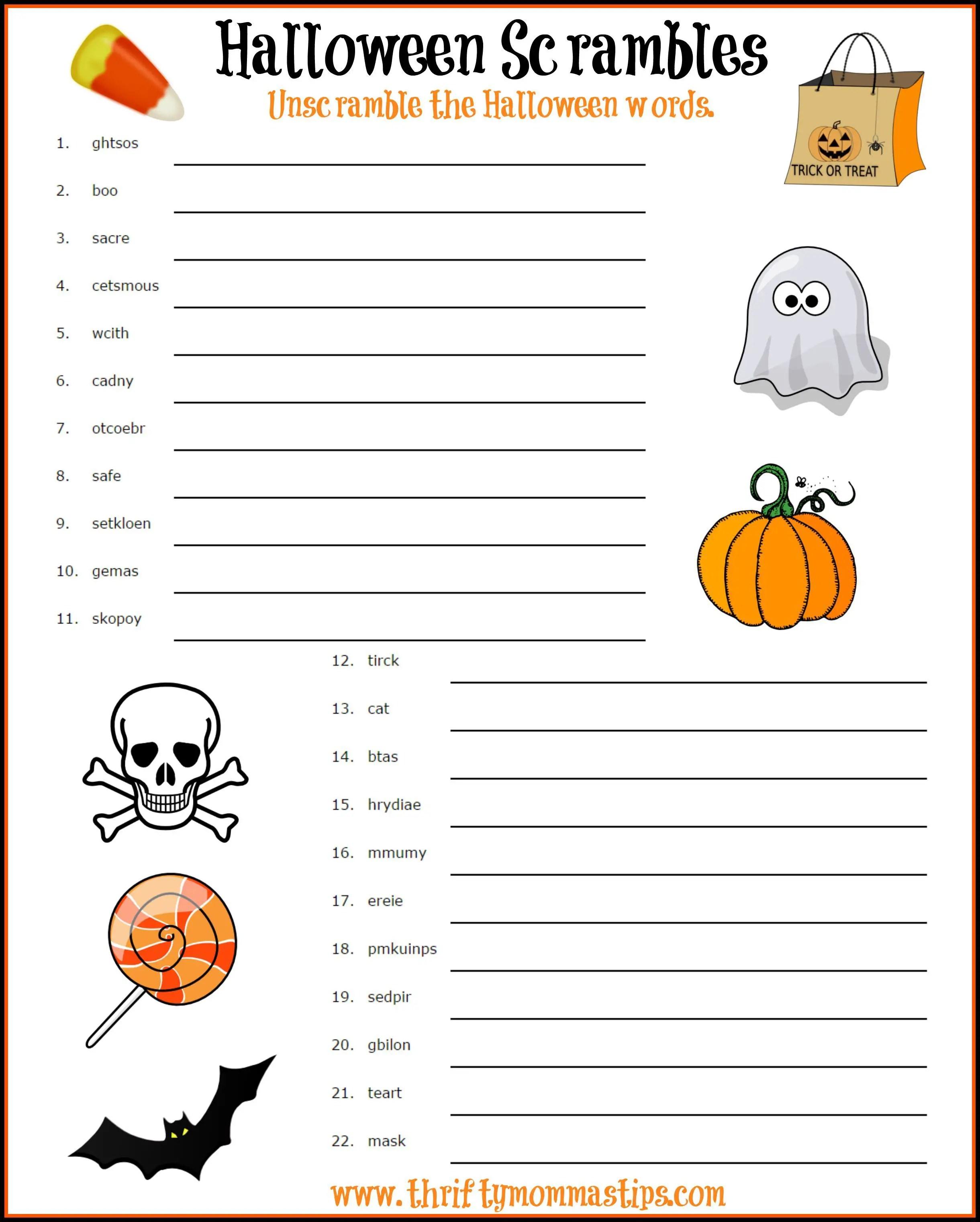 20 Spooky Halloween Word Scrambles