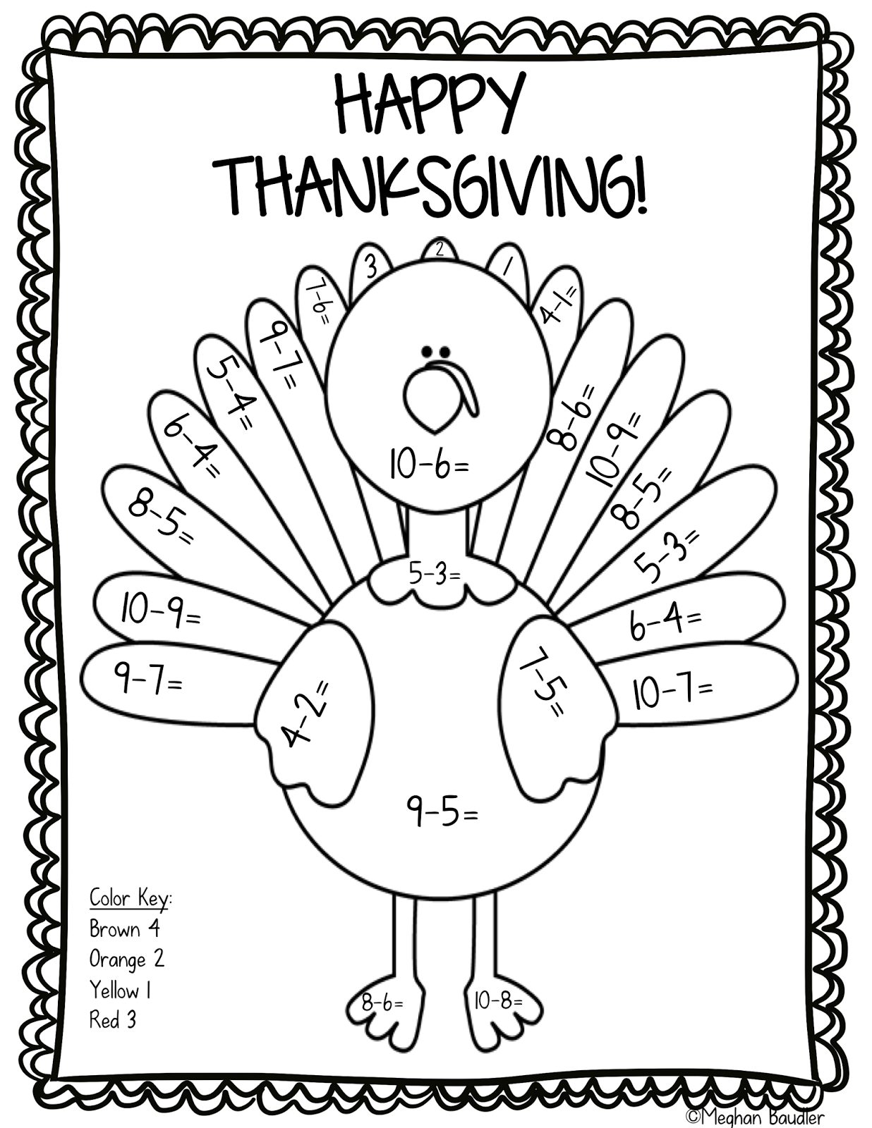 Adding Worksheet Thanksgiving Color By Number