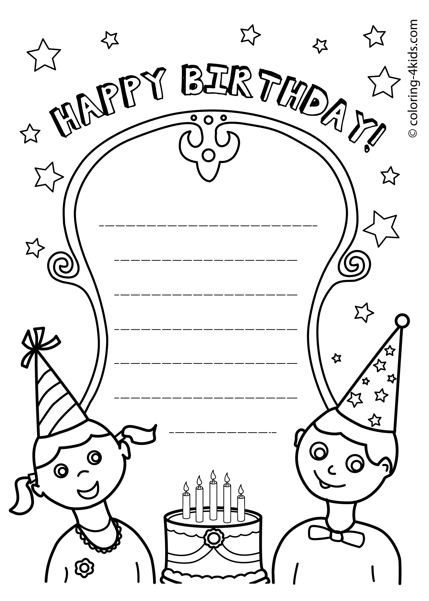 50 Gorgeous Coloring Birthday Cards