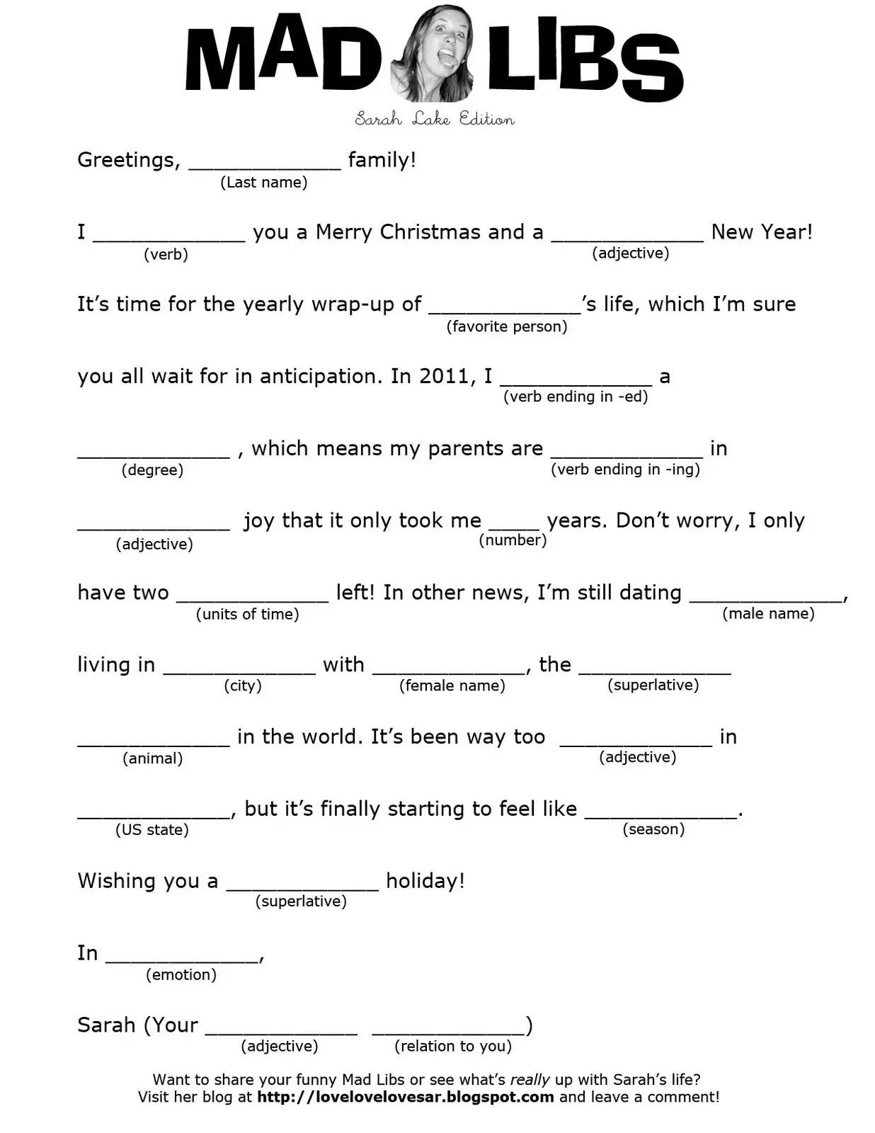 32 Interesting Christmas Mad Libs