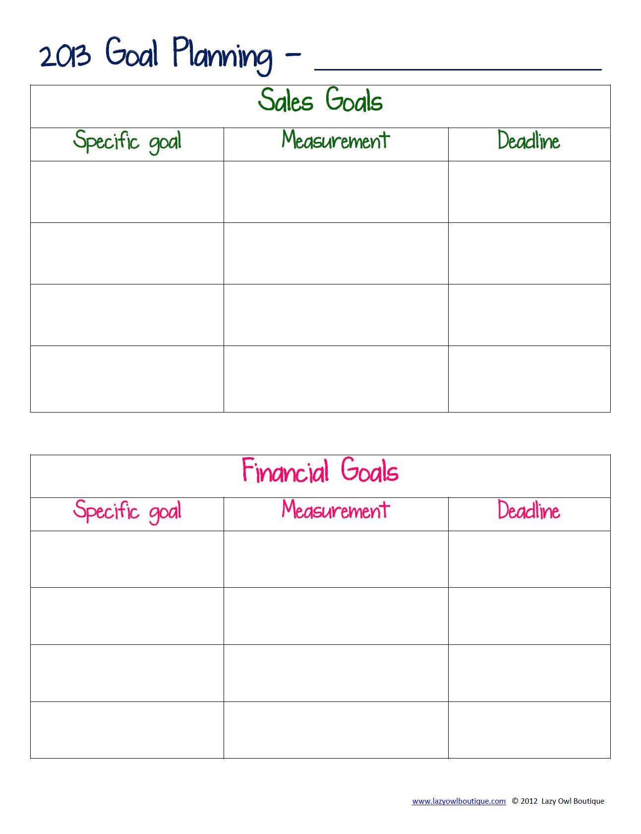 70 Effective Goal Setting Worksheets