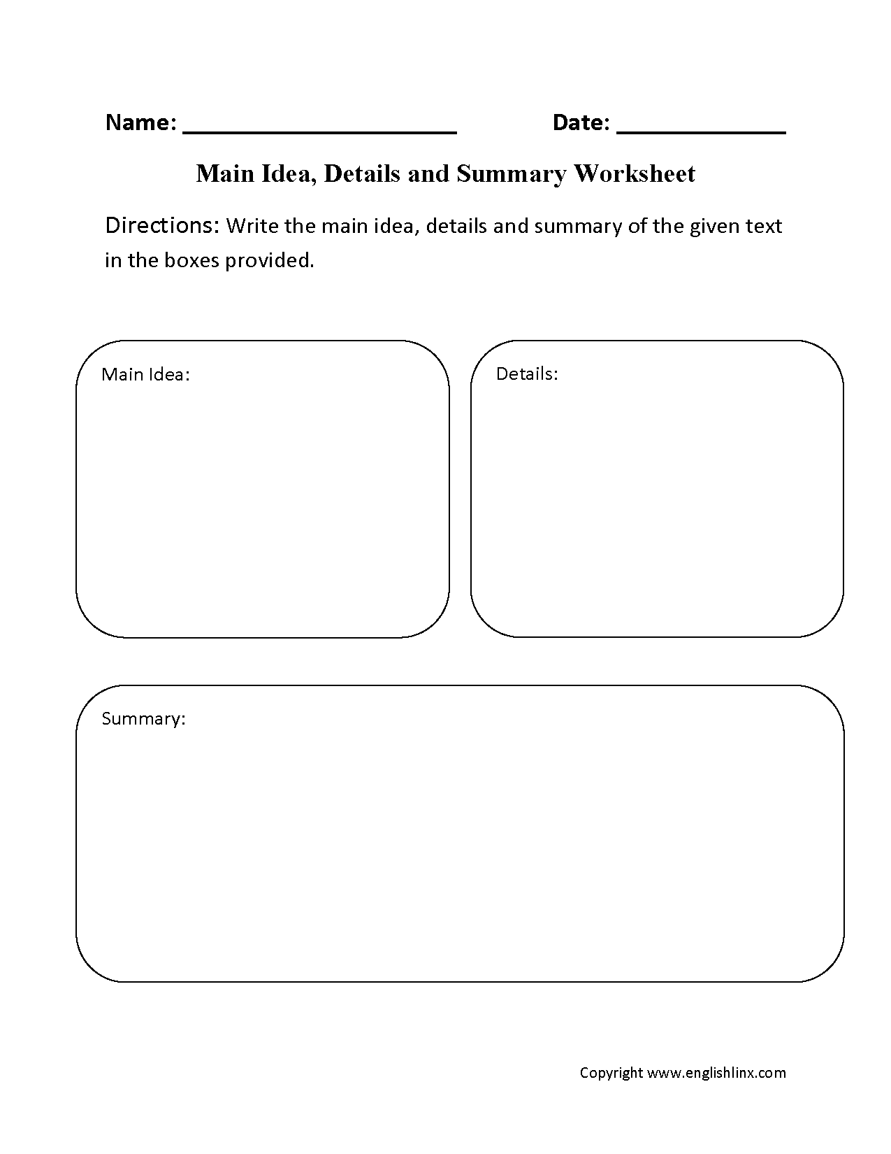 29 Comprehensive Main Idea Worksheets