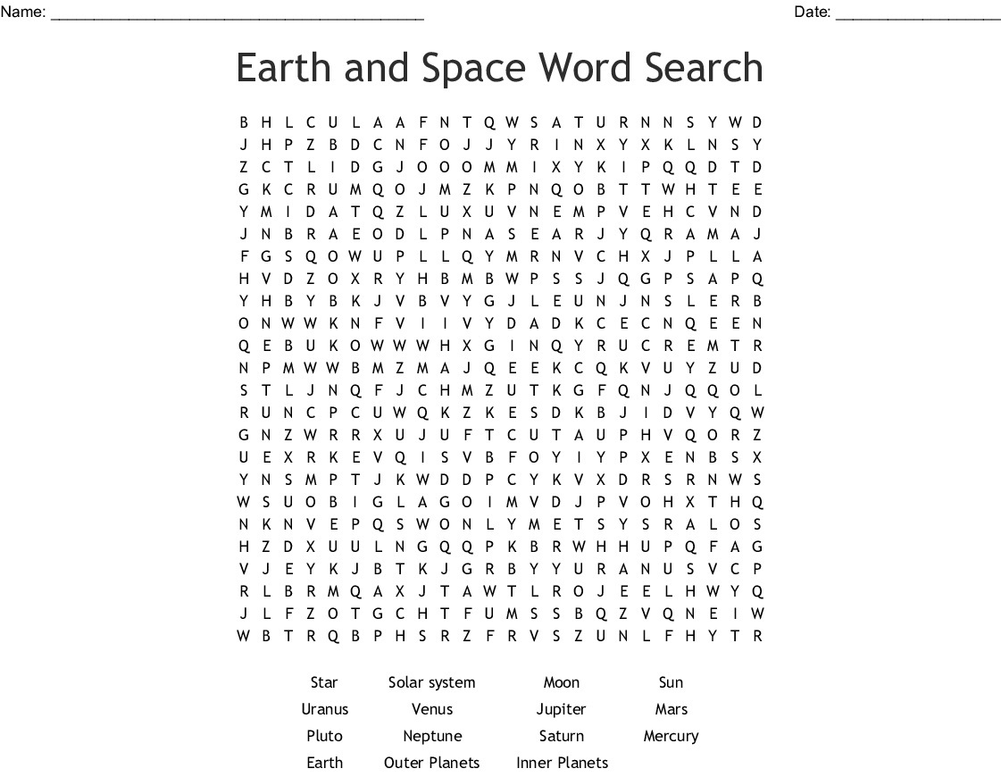 18 Astronomical Space Word Search Puzzles