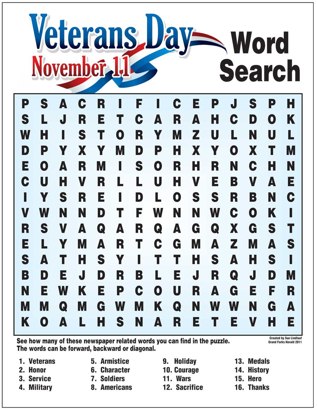 11 Engaging Veterans Day Word Searches