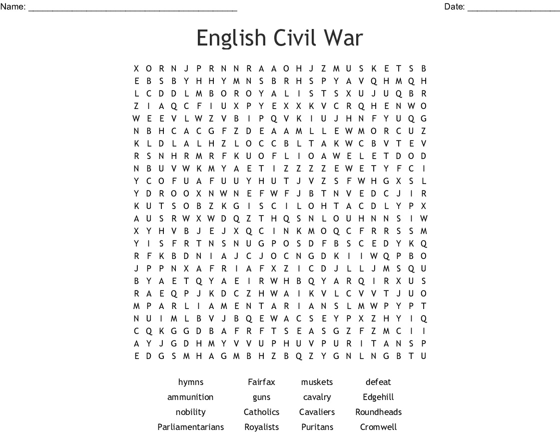 11 Civil War Word Search Puzzles