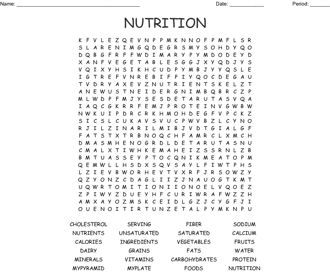 10 Interesting Nutrition Crossword Puzzles