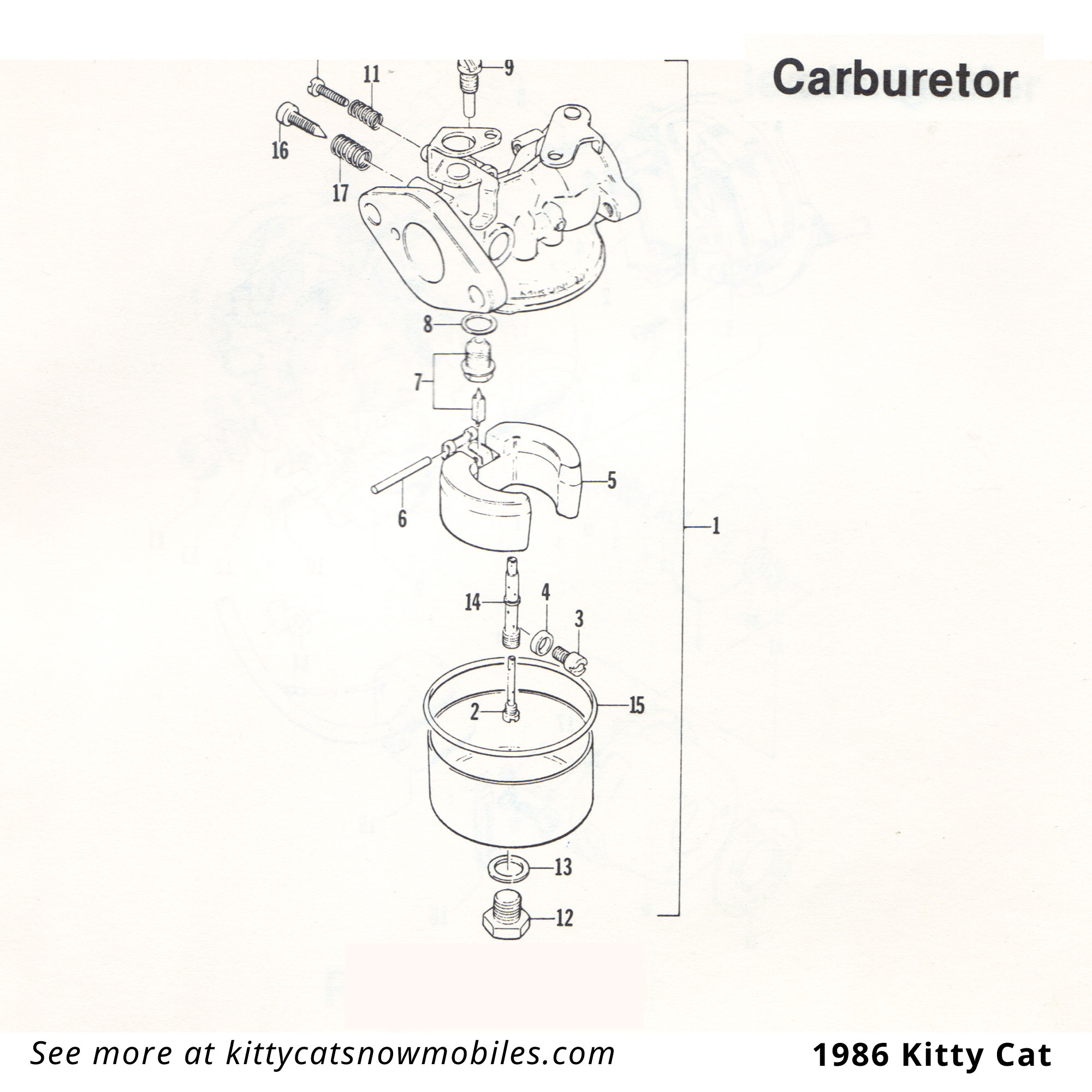 86 Kitty Cat Carburetor Parts