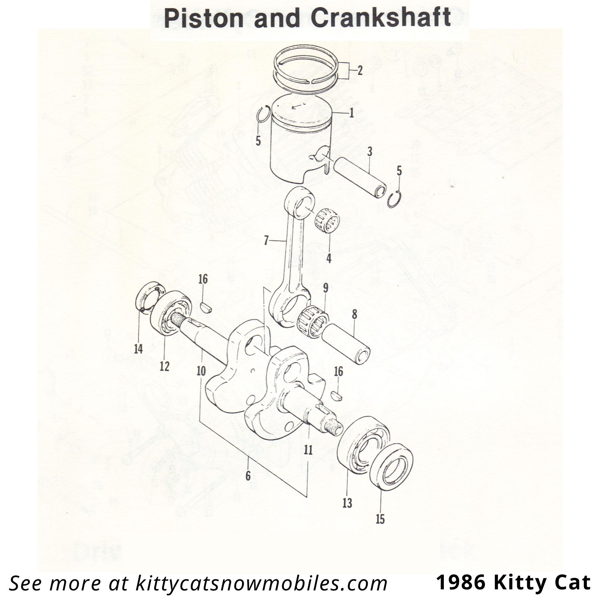 86 Kitty Cat Piston And Crankshaft Parts