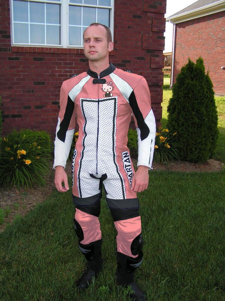 Hello Kitty motorcycle racing leathers