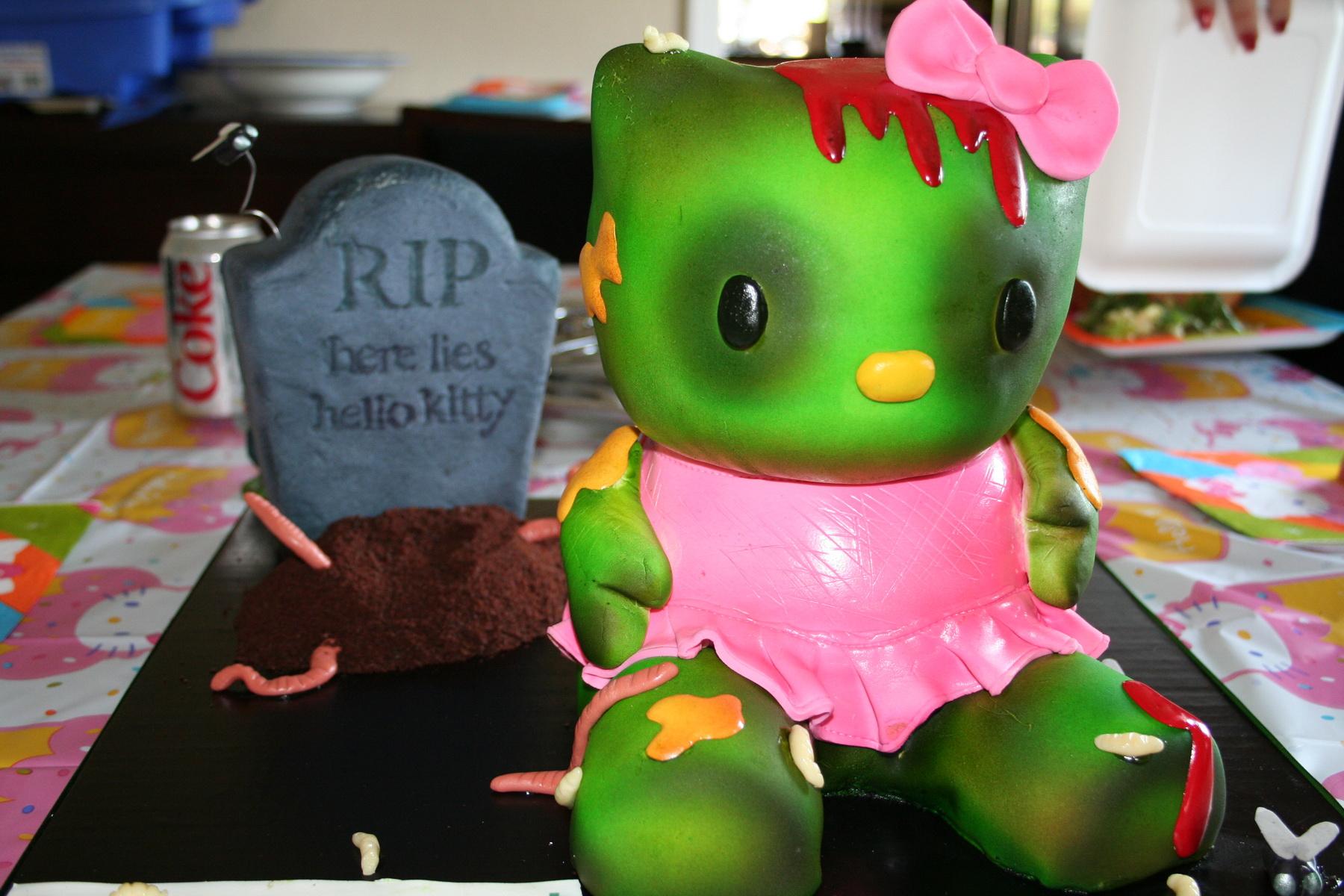 Hello Kitty zombie birthday cake
