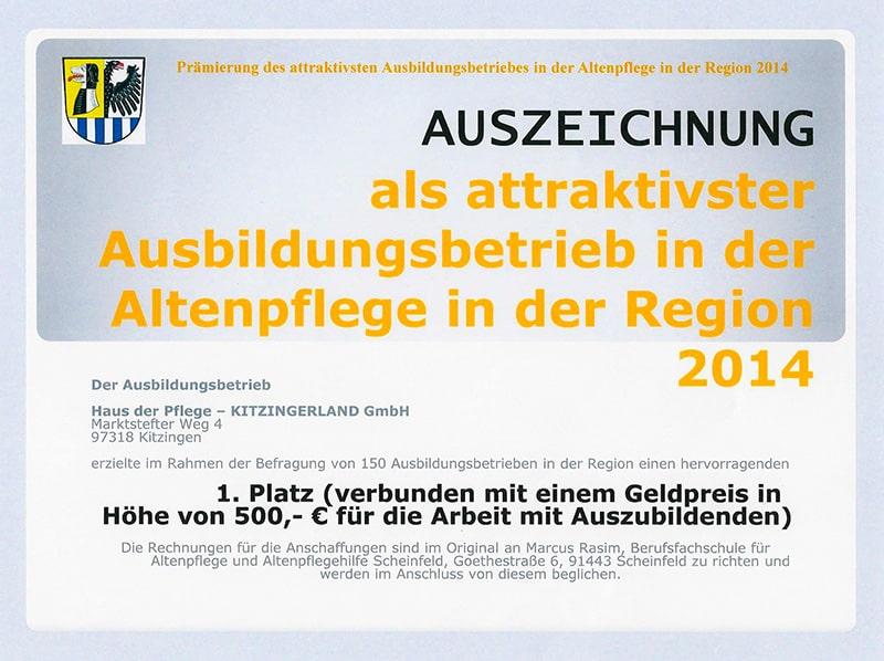 Auszeichnung als attraktivster Ausbildungsbetrieb in der Altenpflege in der Region 2014 - Haus der Pflege Kitzingerland