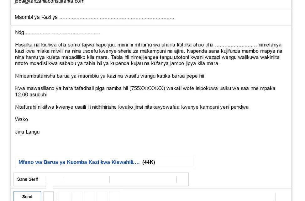 Mfano wa Barua ya Kuomba Kazi Kupitia Email kwa Kiswahili