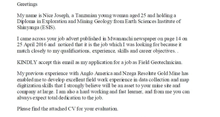 Example of Job Application Letter for a Geotechnician/Geologist