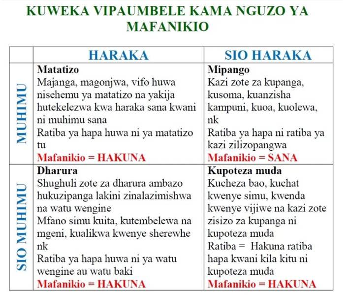 Kuweka Vipaumbele Kama Nguzo ya Kufanikiwa
