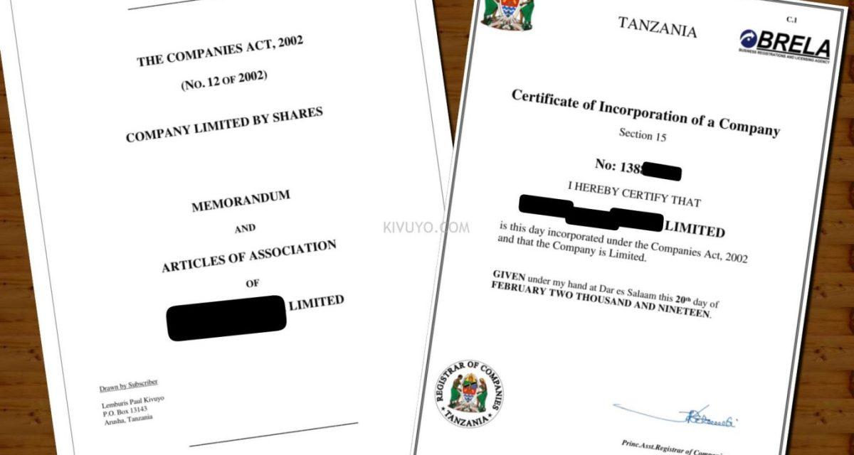 Uandishi wa MemArt- Memorandum and Articles of Association