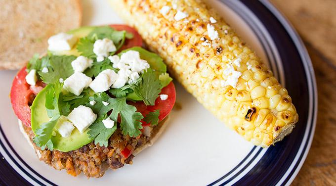 Vegan black bean and quinoa burger