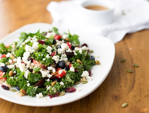 Kale and Berry Salad with Walnut Dressing