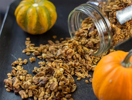 This Pumpkin Granola recipe uses pumpkin seeds, nuts, oats and spices to create a fast, healthy and delicious combination of flavors.