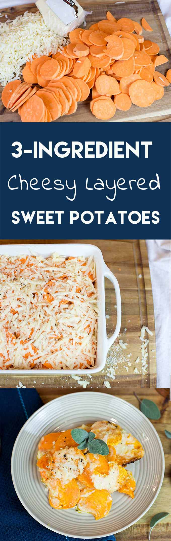 3-Ingredient Cheesy Layered Sweet Potatoes combine sweet potatoes, Pecorino cheese, melted butter and nutmeg in a simple but deliciously savory side dish!