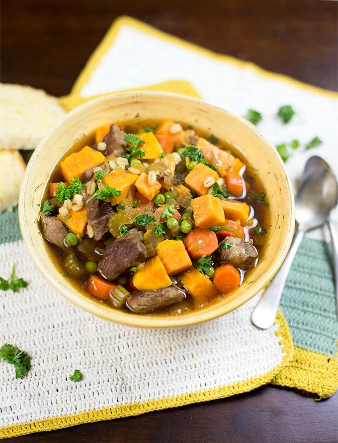 Crockpot Beef and Barley Stew combines marbled beef with fresh vegetables and barley for a hearty, healthy and satisfying meal.