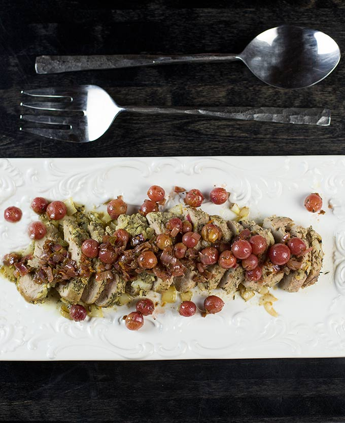 An unexpected twist of flavors: Roasted Pork Tenderloin with Grape Chutney creates a unique combination of savory, tart and sweet tastes in one dish.
