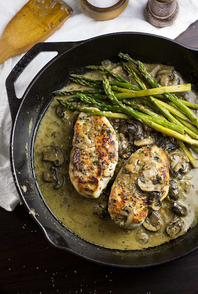 One Skillet Creamy Chicken with Mushrooms - made with coconut milk, white wine and herbs. Paleo and gluten free!