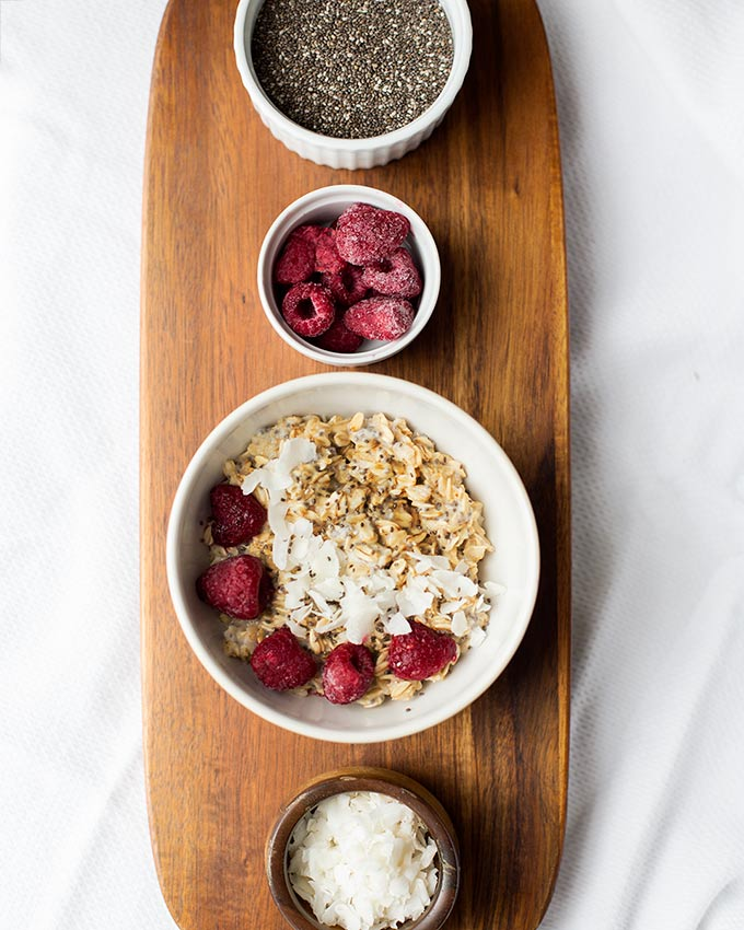 """4 """"Mix Up Your Morning"""" Oatmeal Recipes-don't get stuck in your oatmeal rut! Mix it up with peanut butter, coconut-raspberry, banana bread and carrot cake!"""