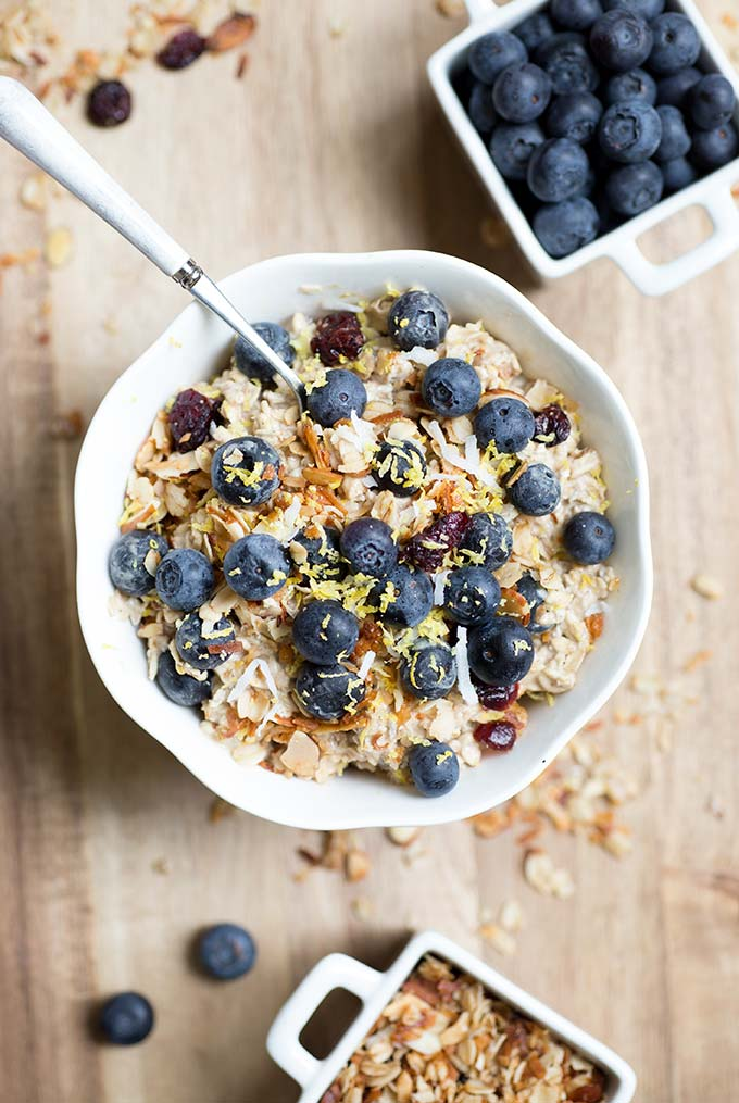 Overnight Swiss Protein Muesli is a mix of oats, nuts, berries and protein powder with a splash of OJ and almond milk. Instant powerhouse breakfast!