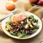 Spinach, Apple and Cheddar Salad with Balsamic-Maple Dressing