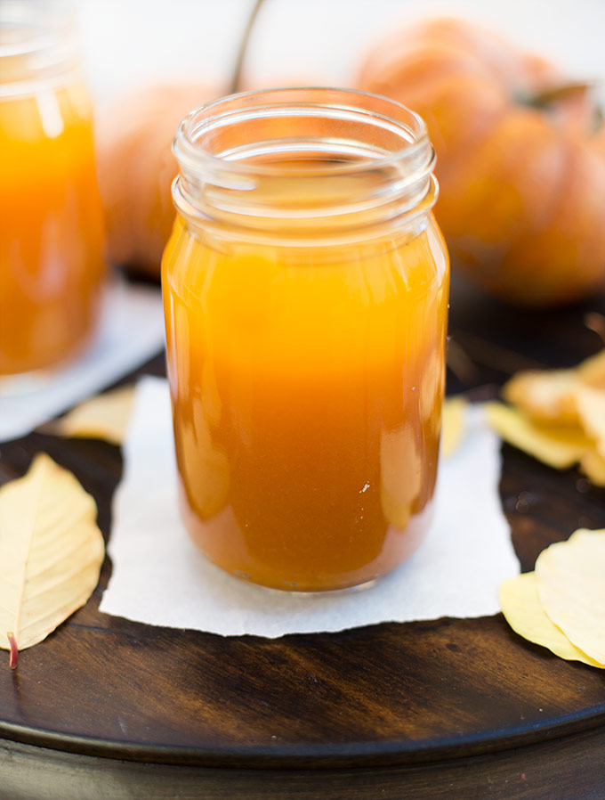 """Harry Potter"" pumpkin juice is the perfect autumn drink: apple cider, pumpkin puree, mango nectar and spices combine for a cold or hot magical treat!"
