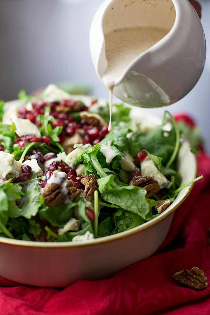 Christmas Chicken Salad - baby kale, pomegranates, apples, gorgonzola and cinnamon pecans, all drizzled with a creamy, cinnamon dressing!