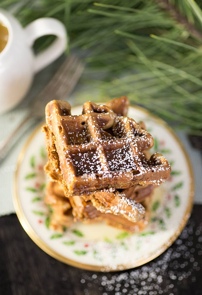 Gluten Free Gingerbread Waffles - drizzled with Vanilla Syrup, bursting with gingerbread flavor and high in protein to keep you full.