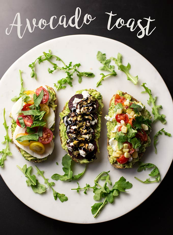 Avocado Toast 3 Ways: caprese, beet & goat cheese and southwestern are just a few of the endless combos you can make with the simple, lovely avocado!