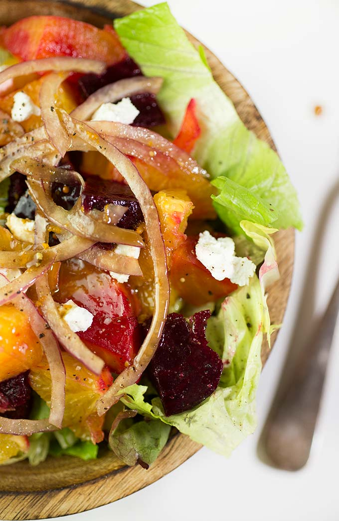 Roasted Beet and Orange Salad - a balsamic-citrus dressing over roasted beets, oranges and goat cheese: colorful, healthy, simple and delicious!