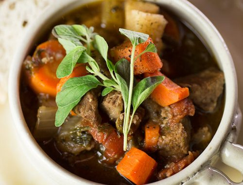 Paleo Crock Pot Stew: clean-eating hearty soup made with beef, veggies, fresh herbs, spices and not much else, for a healthy, simple, cold weather meal.