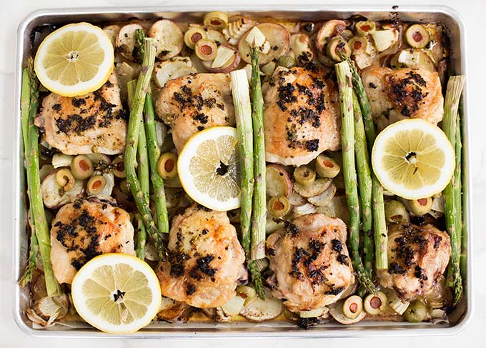 One Pan Lemon Garlic Chicken and Vegetables