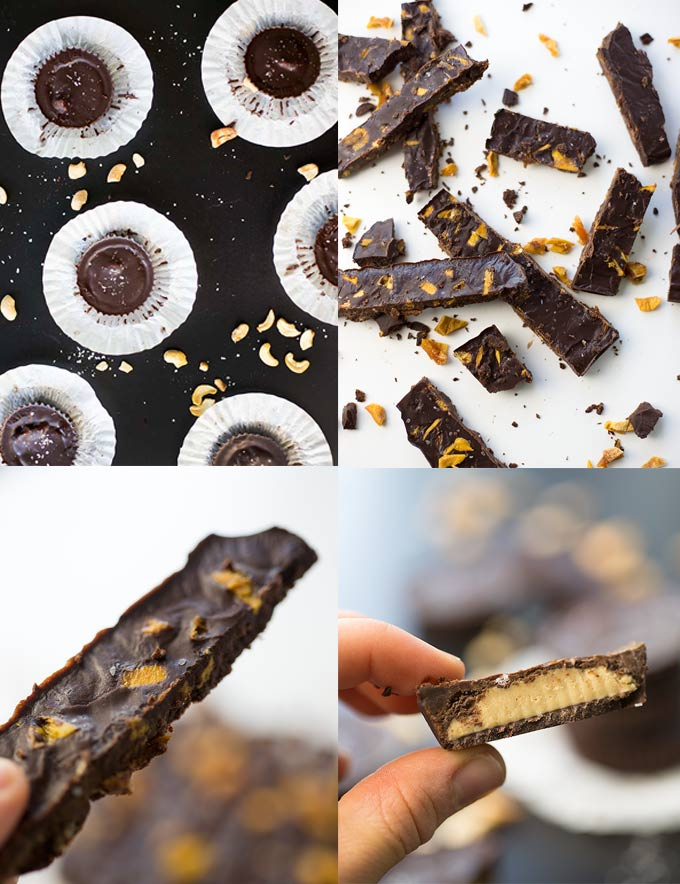 Paleo Dark Chocolate Treats - rich, creamy dark-chocolate makes a delicious base for Chocolate Cashew Butter Cups and Salted Dark Chocolate with Mango!